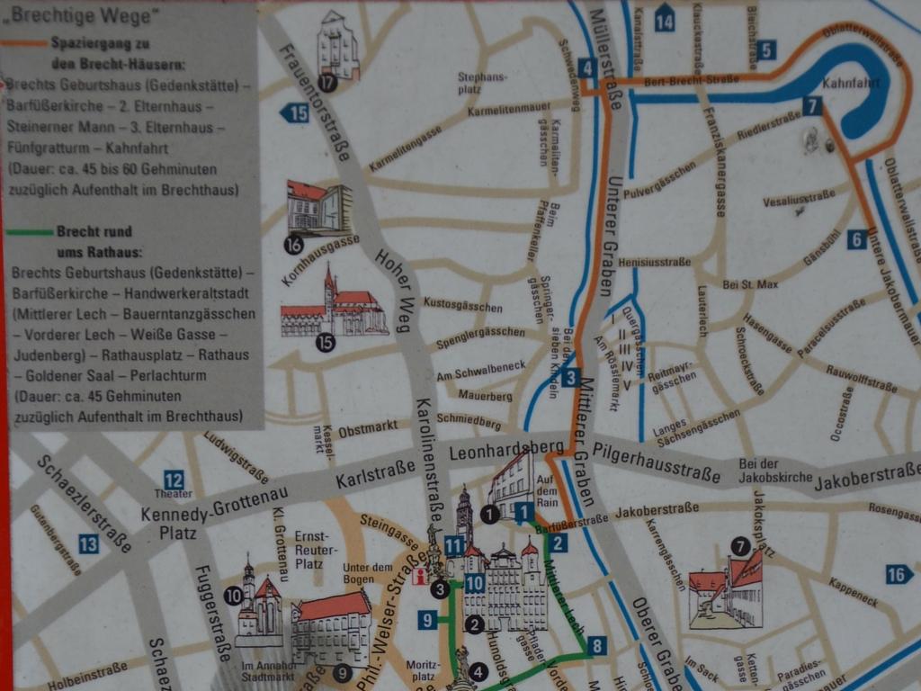 Brecht in Augsburg Karte